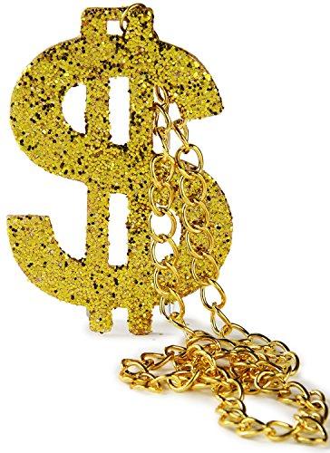 llarzeichen Proll Halskette Gold Rapper Gangster Hip-Hop Kostüm Gold-Kette Anhänger Panzer-Kette Hals-Kette (Dollarzeichen Halskette)