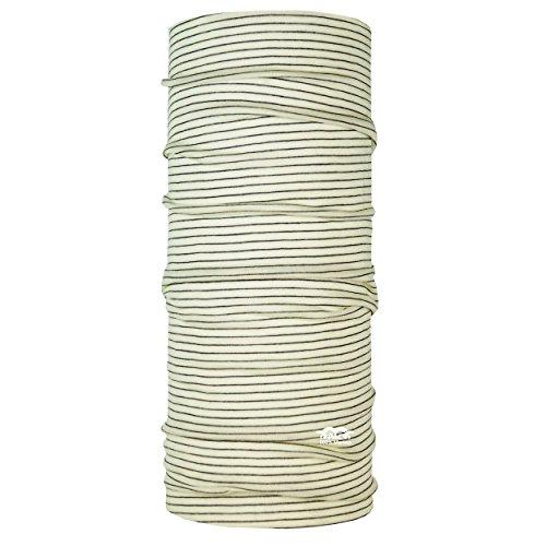 P.A.C. Merino Wool Stripes Ivory Multifunktionstuch - Merinowoll Schlauchtuch, Halstuch, Schal, Kopftuch, Unisex, 10 Anwendungsmöglichkeiten (Wolle Stripe Merino Schal)