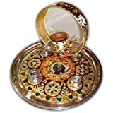 India Get Shopping Stainless Steel Handcrafted Meenakari Work Pooja Thali (Standard)