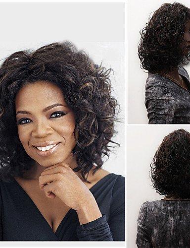 Perruque & xzl Perruques Fashion sans colle profonde bouclés courte perruque de cheveux de femmes à la mode pour les afro-américaine