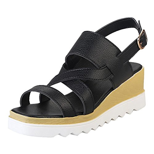Mee Shoes Damen Keilabsatz Schnalle backstrap Sandalen