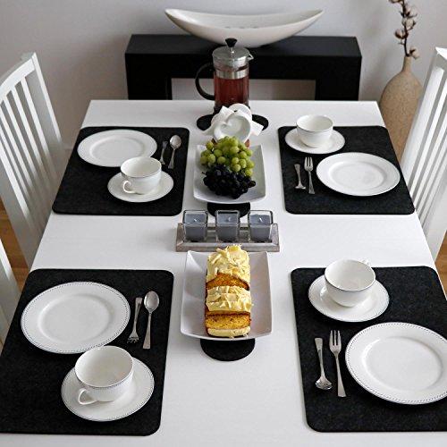 dunedesign 4 Extra-Dicke Filz Tischsets 43x30x0,5cm Edle Platzsets Platzdeckchen Tisch-Unterlage Filzunterlage