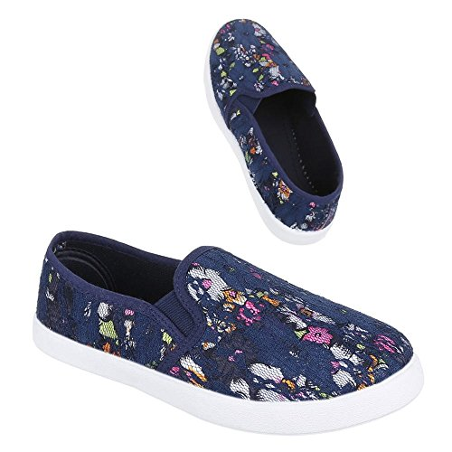 Slipper Damen Schuhe Low-Top Pailetten Deko Ital-Design Halbschuhe Blau Multi W-66-1-