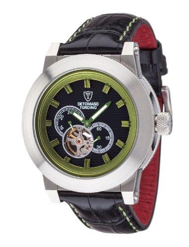 Detomaso-Tordino-Reloj-de-cuarzo-para-hombres-con-correa-de-cuero-de-color-negro-esfera-negra