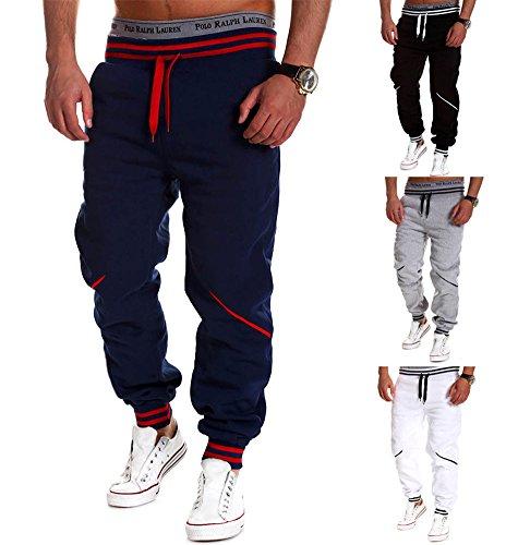 Minetom Uomo Casual Mode Pantaloni Cargo Jeans Jogging Sportivi Straigh Pantalone Polsino Tasche Laterale con Coulisse B Blu Scuro