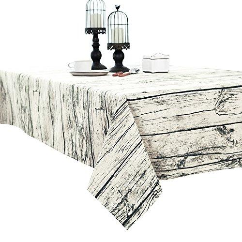 Grain en bois vintage en coton et lin Nappe pour table rectangulaire 100 x 140 cm Décoration, Tissu, blanc, 140*200cm