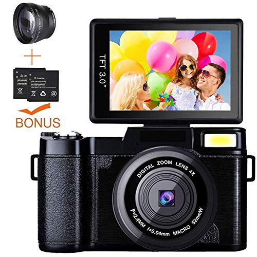 Digital Kamera Camcorder, weton Full HD 1080p Video Kamera 24.0 MP 7,6 cm Flip Bildschirm Vlog Kamera LCD Mini Camcorder mit Weitwinkel Objektiv und Blitzlicht (Zwei Batterien Enthalten) - Kamera Camcorder