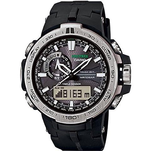Casio - PRW-6000-1ER - Montre Homme - Quartz Analogique et digitale - Solaire/Radio/Boussole/Altimètre - Bracelet Résine Noir