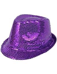 Mens Ladies Trilby Hat Sequin Fedora Hat 1920'S Gangster Fancy Dress Dance Show Unisex Accessory (Purple)
