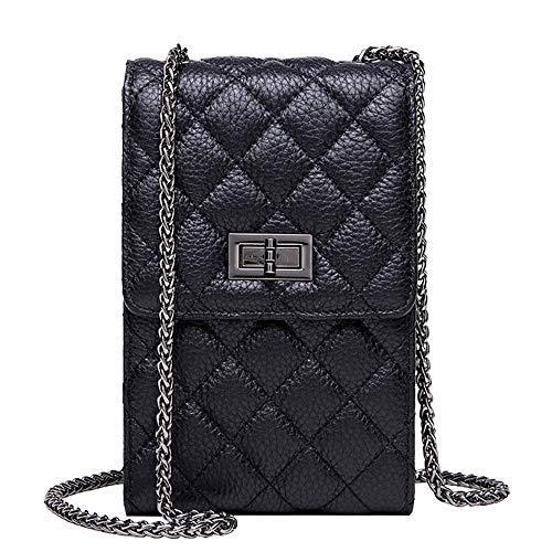 NEVEROUT Frauen weiche Kuh Leder Gesteppte Kleine Handy Crossbody Handtasche Tasche mit 3 Kartenfächern (Black)