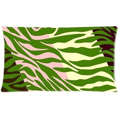 Hipster blanco verde cebra impresión personalizada Rectángulo almohada casos 20x 36(doble lados) por funda de almohada