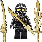 LEGO Ninjago: Minifigur Cole ZX (schwarzer Ninja) mit 3 GALAXYARMS Schwertern
