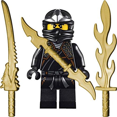 Ninjago Lego Minifigur Cole ZX (schwarzer Ninja) mit 3 GALAXYARMS Schwertern