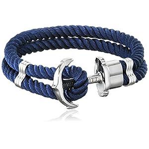 PAUL HEWITT Anker Armband Herren und Damen PHREP – Anker Armband Nylon (Marineblau), Segeltau Armband für Männer und Frauen mit Anker Schmuck aus Edelstahl (Silber)