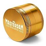 masterdam Mahlwerk Premium 4tlg Herb Grinder mit Pollen Catcher–eloxiert Aluminium, aluminium, gold, Large (2.5 In)