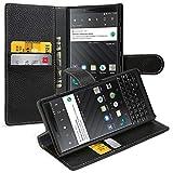 keledes Coque Blackberry Key2, Housse Blackberry Key2 avec Porte-Cartes en Cuir Véritable, Etui Portefeuille avec Fermeture Magnétique et Fonction de Stand pour Blackberry Key2, Noir