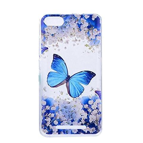 Crisant Case Cover For Wiko Lenny 3 III,Joli papillon bleu Premium gel Ultra thin Transparent TPU souple Clair Bumper silicone protection Housse arrière coque étui Pour Wiko Lenny 3 III