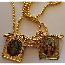 Escapulario De La Virgen Guadalupe. 18K chapado en oro. Confirmación.