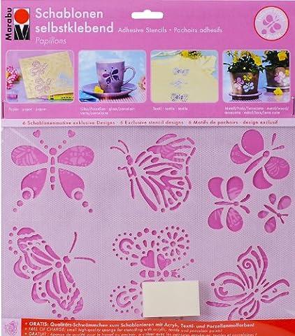 Marabu 027400006 - Schablone selbstklebend Papillons A5 (Porzellan Stoff)