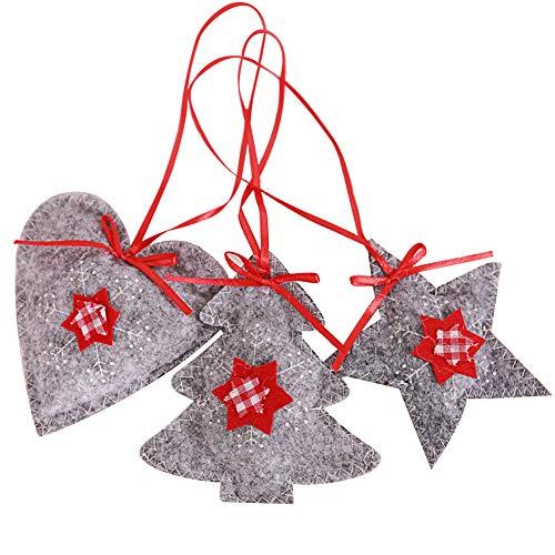 Bodhi2000Decorazioni per Albero di Natale, Pezzi Stella Amore Cuore Appeso Pendente Ornamento Holiday Party Decor Xmas Gift, Grey, Taglia Unica