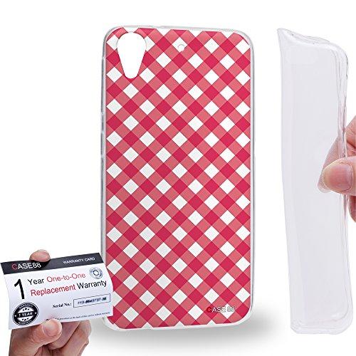 Case88 [HTC Desire 626 / 626s / 626G] Gel TPU Hülle / Schutzhülle & Garantiekarte - Art Coloured Doodle Patterns Pink Checker Art1406 Checker Tpu Gel