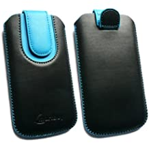 Emartbuy® Negro / Azul Premium Cuero PU Funda Carcasa Case Tipo Bolsa ( Size 3XL ) con Mecanismo de Pestaña para Estirar adecuada para Bogo LIfestyle 4SL-QC Smartphone 4 Inch
