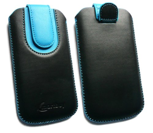 Emartbuy® Value Pack Für HTC Hero Schwarz/Blau Premium-Pu-Leder Slide In Pouch/Case/Sleeve/Holder (Größe Large) Mit Pull Tab Mechanism + Compatible Mini Usb Car Charger + Lcd Screen Protector Htc Hero Screen Protector