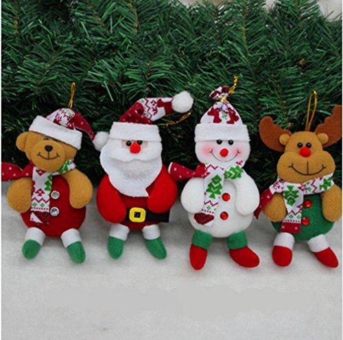 Adornos navideños 4 piezas adornos de árbol de Santa Claus Suministros de decoración de Navidad creativo para el hogar y el partido ( muñeco de nieve*1 +elk*1 + cerveza*1 + Santa*1)