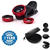 Drumstone Universal 3 In 1 (Macro+Fish Eye+Wide) Cell Phone Camera Lens Kit With Multi Purpose Round Earphone Carrying Case Compatible With Xiaomi, Lenovo, Apple, Samsung, Sony, Oppo, Gionee, Vivo Smartphones (One Year Warranty)