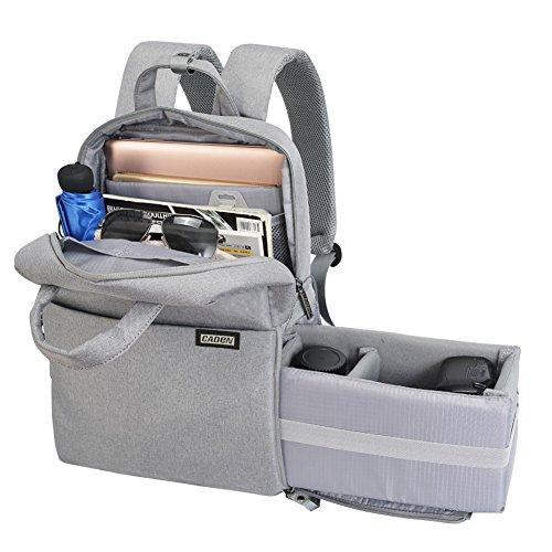 CADeN Kameratasche Fotorucksack für Frauen Männer Wasserdichter diebstahlgeschützter Fotografie & Casual Travel Kamera Bag case objektiv Taschen für DSLR Canon Nikon Sony (M,Hellgrau)