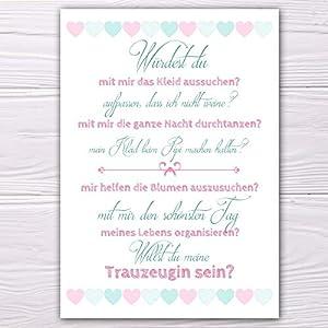 """A6 Postkarte """"Willst du meine Trauzeugin sein?"""" in rosa/mintblau Glanzoptik Papierstärke 235 g / m2 Geschenk für…"""