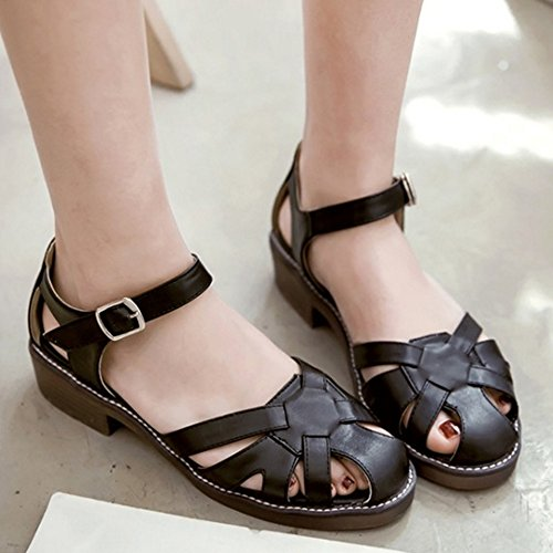 COOLCEPT Femmes Decontractee Cheville Boucle Sandales Vintage Creux Talon Bas Chaussures Noir