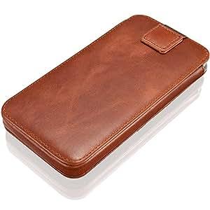 KAVAJ Miami Echtleder-Schutzhülle mit Visitenkarten-Fach für das Apple iPhone 7 / 6S / 6 (4,7 Zoll), Handyhülle in cognac-braun