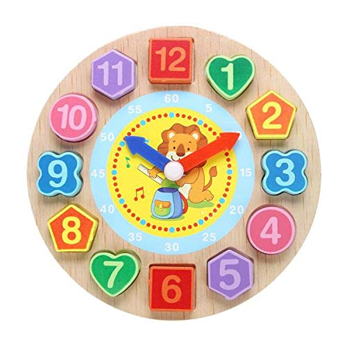 Wooden Learning Clock Animal Wooden Clock, Educational Digital Analog Children Cartoon Shape Clock Learning Toy for Kids Wooden Montessori Toy, Bead Lace Wooden Toy Clock