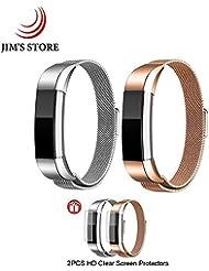 Para Fitbit Alta HR / Fitbit Alta, JIM'S STORE Paquete de 2 Mental Acero Inoxidable Correa Milanesa Wristband del imán del reemplazo con el protector de la pantalla 2PCS Astilla & Oro rosa