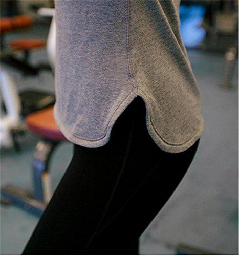 Gymnasium couleur unie manches courtes tops / yoga tops / sports de plein air t-shirt gray