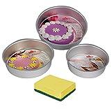 #8: Rolex Round Cake Mould, Aluminium, Silver, 3 pc Set + 1 Milton (Spotzero) Scrub Free
