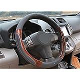 Nikavi Luxury Microfiber Leather Auto Car Steering Wheel Cover Universal 15 Inch (Grey)