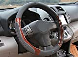#3: Nikavi Luxury Microfiber Leather Auto Car Steering Wheel Cover Universal 15 Inch (Grey)