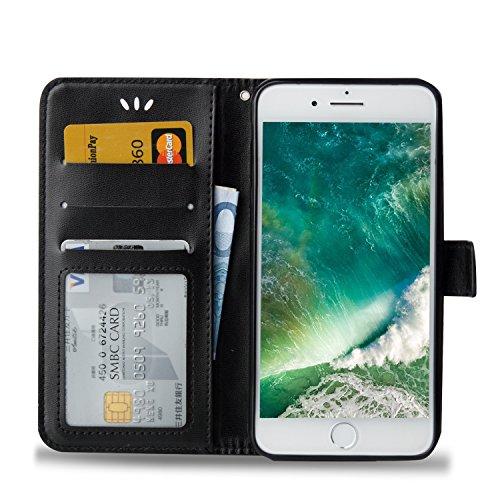 Coque iPhone 7 Plus, MSK® Bronzante Papillon Fleur imprimé Etui Cuir Folio Portefeuille Protection Pour Apple iPhone 7 Plus Case Protection Cover - Pourpre Noir