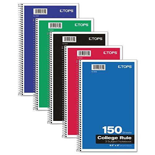 Tops 3-subject Notizbuch, Drahtkammbindung, College Rule, 15,2x 24,1cm, weiß, 150Blatt pro Buch, Color Cover kann variieren (65362)