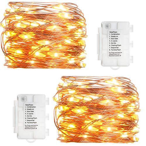 KooPower 2stk 50er LED Lichterkette,Batterie Lichterketten Außen,Kupferdraht Lichterkette 8 Modi, TIMER-Funktion,IP65 Wasserdicht für Outdoor,Garten,Weihnacht.(Warmweiß)