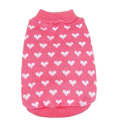 Silvercell Pets Puppy Dogs Clothes Jacket Little Heart Knit Sweater Coat Pink