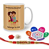 Indigifts Rakhi Gifts For Brother Handsome Bro Belongs To Me Quote Printed Gift Set Of Mug 330 Ml, Crystal Rakhi For Brother, Tika, Chawal & Greeting Card - Rakshabandhan Gifts For Brother, Rakhi For Brother With Gifts, Raksha Bandhan Gifts, Brother C