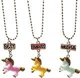SiAura Material 1Set Collares Amistad Cadenas Unicornio, Rosa, Azul, Amarillo, Longitud 47cm, 3Unidades