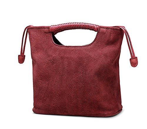 Xinmaoyuan Borse donna sezione verticale Square Borsetta in vera pelle benna retrò borsa tracolla croce diagonale sacchetto di tessuto,Colore caramello Vino rosso