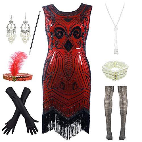 Letter Love Damen Cocktailkleid im Stil der 20er Jahre, ärmellos, Pailletten - rot - - Roaring 20's Übergröße Flapper Kostüm