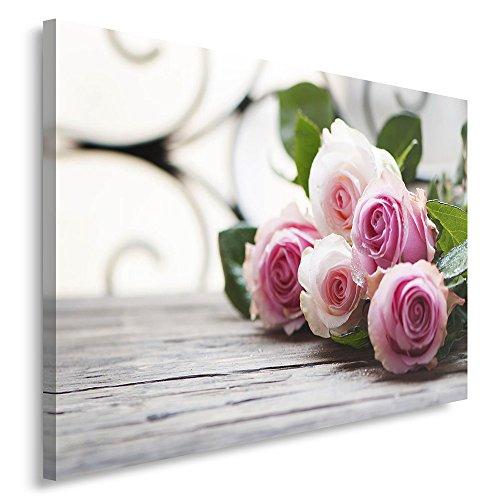 Feeby. Wandbild - 1 Teilig - 80x120 cm, Leinwand Bild Leinwandbilder Bilder Wandbilder Kunstdruck, ROSEN, NATUR, ROSA - Rosa Bild Rosen