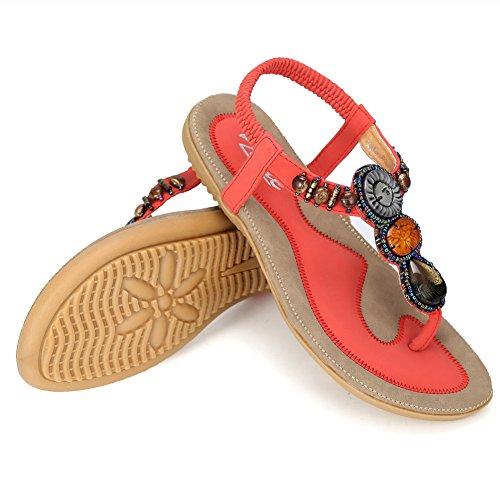 Zicac Damen Sandalen Böhmen Flip-Flops EU 35-41 Damen Sommer Schuhe Rot