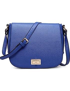 Miss LuLu Damen Tasche PU Leder Cross Body Schultertasche Handtasche lässiger Stil (LT1662-Dunkelblau)